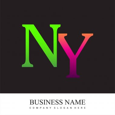 Initial letter logo NY colored pink and green, Vector logo design template elements for your business or company identity. icon