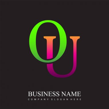 Initial letter logo OU colored pink and green, Vector logo design template elements for your business or company identity. icon