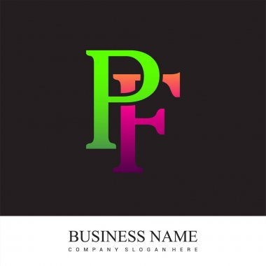 Initial letter logo PF colored pink and green, Vector logo design template elements for your business or company identity. icon