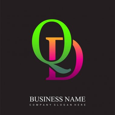 Initial letter logo QD colored pink and green, Vector logo design template elements for your business or company identity. icon