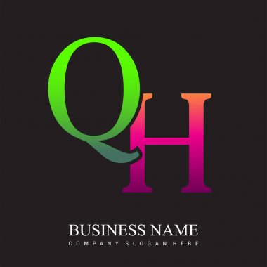 Initial letter logo QH colored pink and green, Vector logo design template elements for your business or company identity. icon