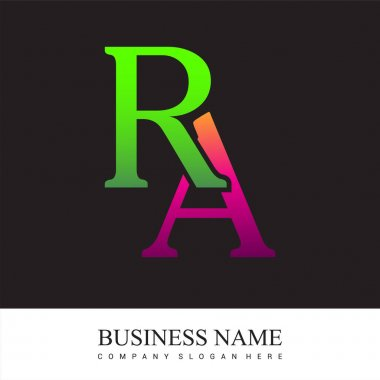Initial letter logo RA colored pink and green, Vector logo design template elements for your business or company identity. icon