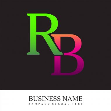 Initial letter logo RB colored pink and green, Vector logo design template elements for your business or company identity. icon