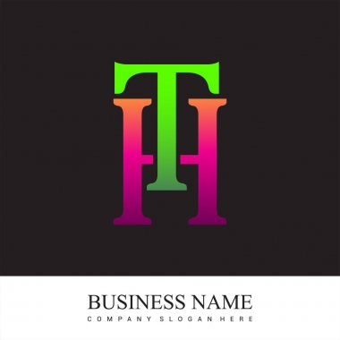 Initial letter logo TH colored pink and green, Vector logo design template elements for your business or company identity. icon
