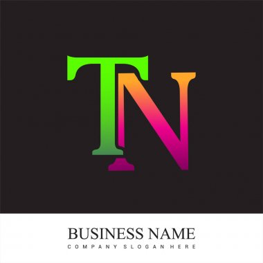 Initial letter logo TN colored pink and green, Vector logo design template elements for your business or company identity. icon