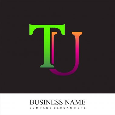 Initial letter logo TU colored pink and green, Vector logo design template elements for your business or company identity. icon
