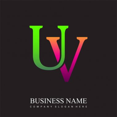 Initial letter logo UV colored pink and green, Vector logo design template elements for your business or company identity. icon