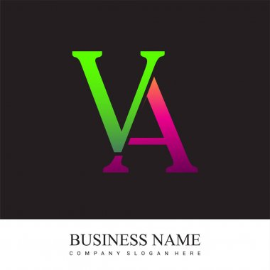 Initial letter logo VA colored pink and green, Vector logo design template elements for your business or company identity. icon