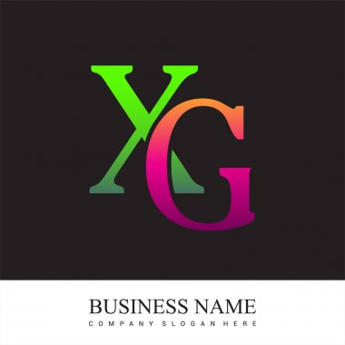 Initial letter logo XG colored pink and green, Vector logo design template elements for your business or company identity. icon