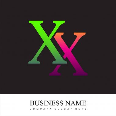 Initial letter logo XX colored pink and green, Vector logo design template elements for your business or company identity. icon