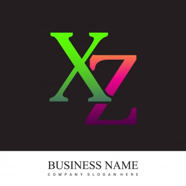 Initial letter logo XZ colored pink and green, Vector logo design template elements for your business or company identity. icon