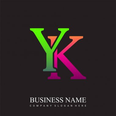 Initial letter logo YK colored pink and green, Vector logo design template elements for your business or company identity. icon