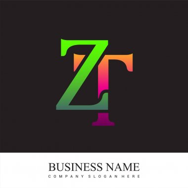 Initial letter logo ZT colored pink and green, Vector logo design template elements for your business or company identity. icon