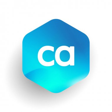 Letter CA logo in hexagon shape and colorful background, letter combination logo design for business and company identity. icon