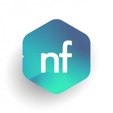 Letter NF logo in hexagon shape and colorful background, letter combination logo design for business and company identity. icon