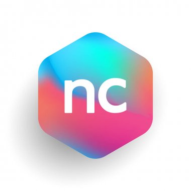 Letter NC logo in hexagon shape and colorful background, letter combination logo design for business and company identity. icon