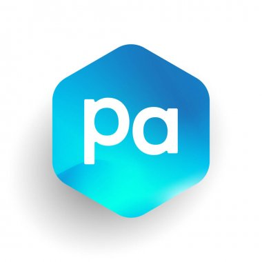 Letter PA logo in hexagon shape and colorful background, letter combination logo design for business and company identity. icon