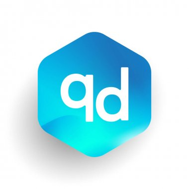 Letter QD logo in hexagon shape and colorful background, letter combination logo design for business and company identity. icon
