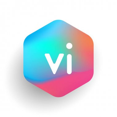 Letter VI logo in hexagon shape and colorful background, letter combination logo design for business and company identity. icon