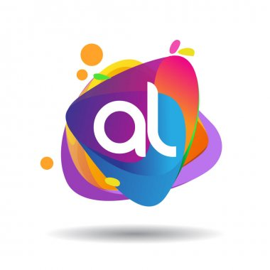 Letter AL logo with colorful splash background, letter combination logo design for creative industry, web, business and company. icon