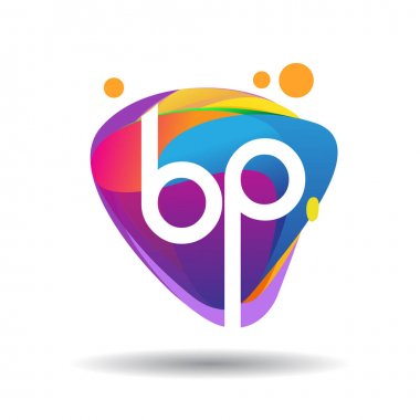 Letter BP logo with colorful splash background, letter combination logo design for creative industry, web, business and company. icon