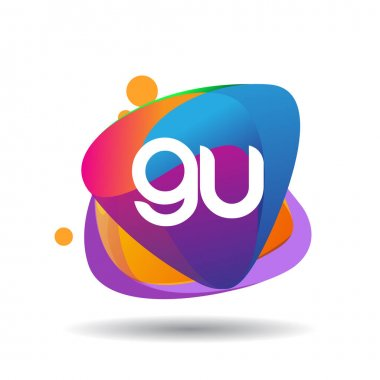 Letter GU logo with colorful splash background, letter combination logo design for creative industry, web, business and company. icon
