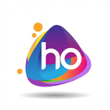 Letter HO logo with colorful splash background, letter combination logo design for creative industry, web, business and company. icon