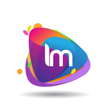 Letter IM logo with colorful splash background, letter combination logo design for creative industry, web, business and company. icon
