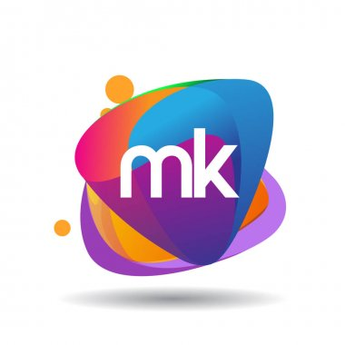 Letter MK logo with colorful splash background, letter combination logo design for creative industry, web, business and company. icon