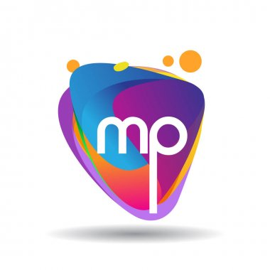 Letter MP logo with colorful splash background, letter combination logo design for creative industry, web, business and company. icon