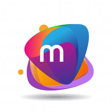 Letter MU logo with colorful splash background, letter combination logo design for creative industry, web, business and company. icon