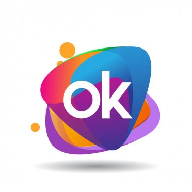 Letter OK logo with colorful splash background, letter combination logo design for creative industry, web, business and company. icon
