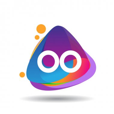 Letter OO logo with colorful splash background, letter combination logo design for creative industry, web, business and company. icon