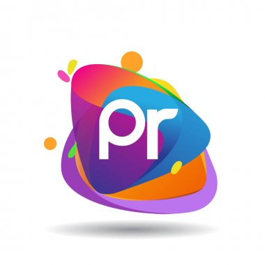 Letter PR logo with colorful splash background, letter combination logo design for creative industry, web, business and company. icon