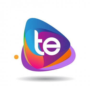 Letter TE logo with colorful splash background, letter combination logo design for creative industry, web, business and company. icon