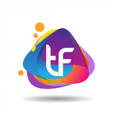 Letter TF logo with colorful splash background, letter combination logo design for creative industry, web, business and company. icon