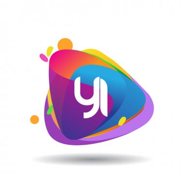 Letter YI logo with colorful splash background, letter combination logo design for creative industry, web, business and company. icon