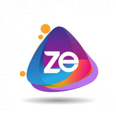 Letter ZE logo with colorful splash background, letter combination logo design for creative industry, web, business and company. icon