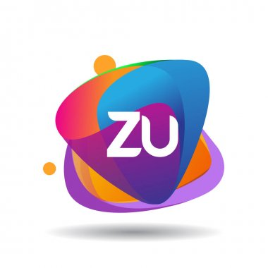 Letter ZU logo with colorful splash background, letter combination logo design for creative industry, web, business and company. icon