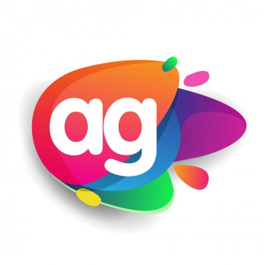 Letter AG logo with colorful splash background, letter combination logo design for creative industry, web, business and company. icon
