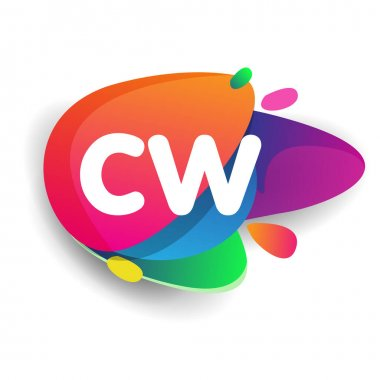 Letter CW logo with colorful splash background, letter combination logo design for creative industry, web, business and company. icon