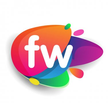 Letter FW logo with colorful splash background, letter combination logo design for creative industry, web, business and company. icon
