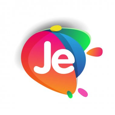 Letter JE logo with colorful splash background, letter combination logo design for creative industry, web, business and company. icon