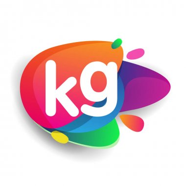 Letter KG logo with colorful splash background, letter combination logo design for creative industry, web, business and company. icon