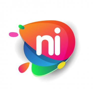Letter NI logo with colorful splash background, letter combination logo design for creative industry, web, business and company. icon