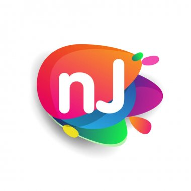 Letter NJ logo with colorful splash background, letter combination logo design for creative industry, web, business and company. icon