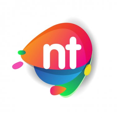 Letter NT logo with colorful splash background, letter combination logo design for creative industry, web, business and company. icon