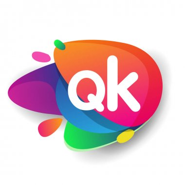 Letter QK logo with colorful splash background, letter combination logo design for creative industry, web, business and company. icon