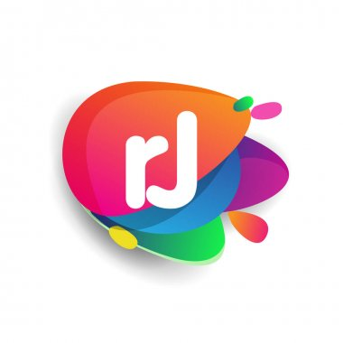 Letter RJ logo with colorful splash background, letter combination logo design for creative industry, web, business and company. icon