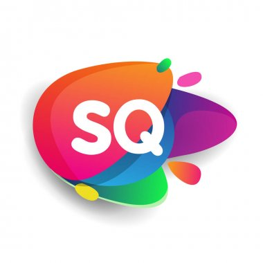 Letter SQ logo with colorful splash background, letter combination logo design for creative industry, web, business and company. icon
